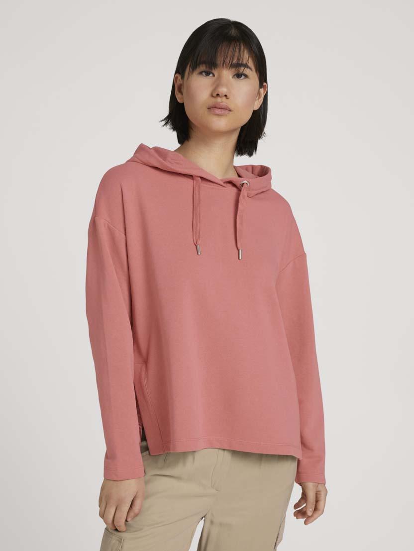 Športni pulover s kapuco z dolgimi rokavi iz organskega bombaža - Roza