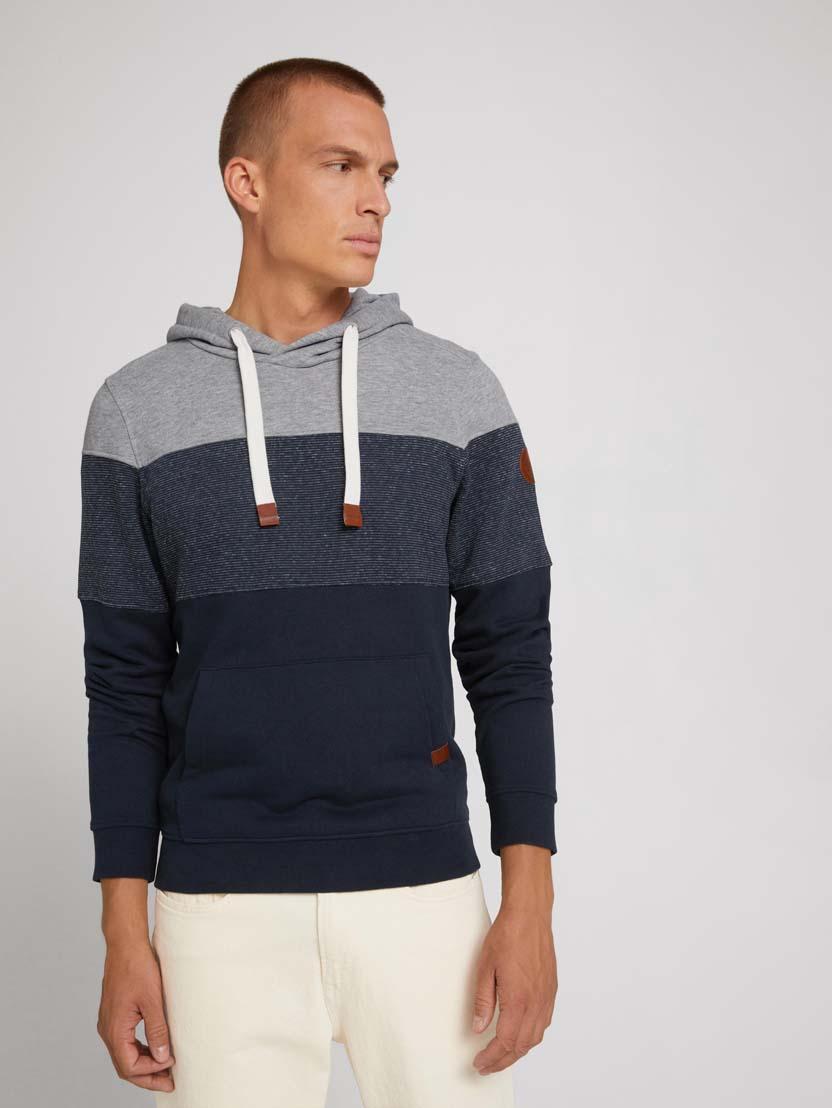 Športni pulover s kapuco z dolgimi rokavi v barvnem bloku - Modra_1271031