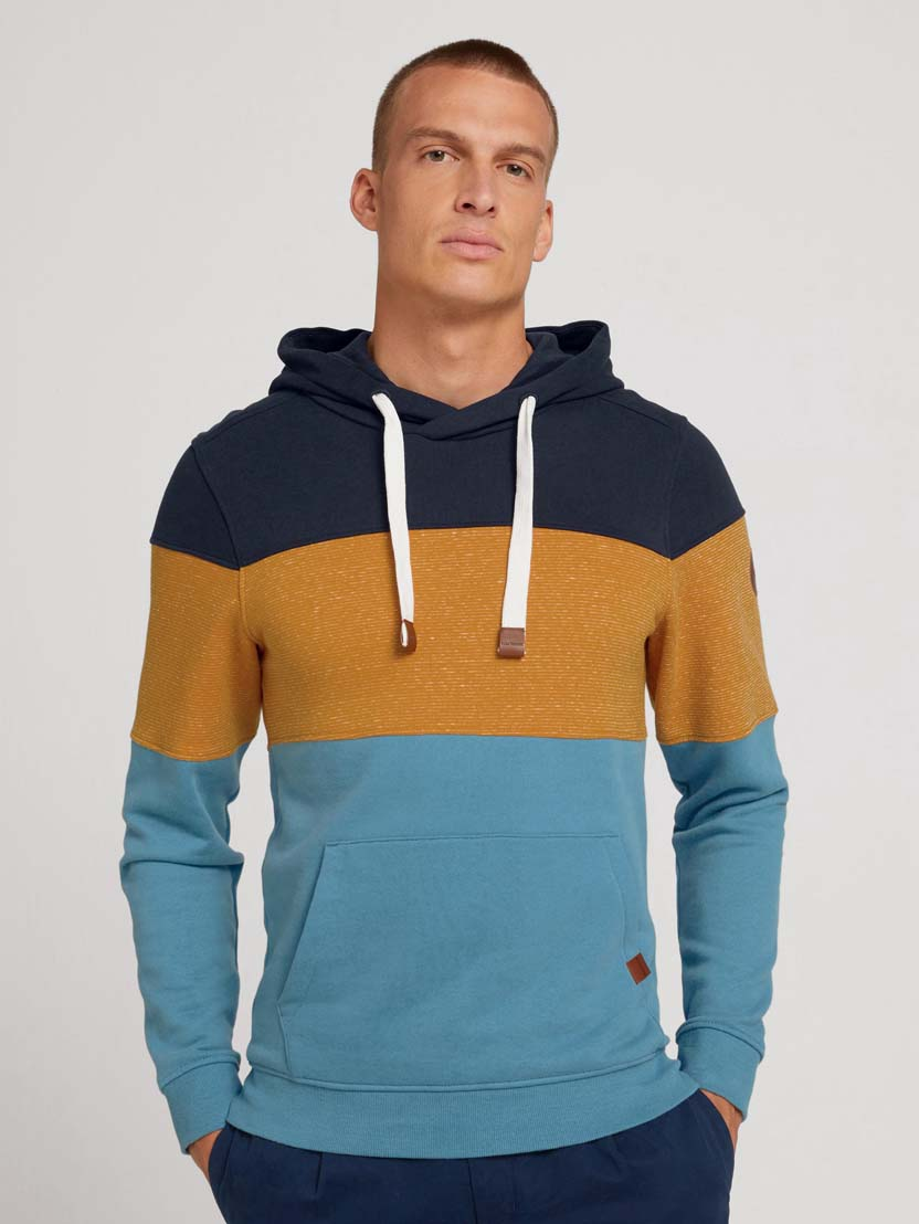 Športni pulover s kapuco z dolgimi rokavi v barvnem bloku - Modra