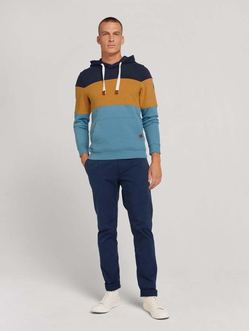Športni pulover s kapuco z dolgimi rokavi v barvnem bloku - Modra_3114010