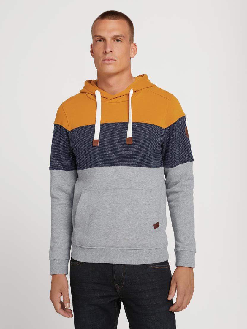 Športni pulover s kapuco z dolgimi rokavi v barvnem bloku - Oranžna