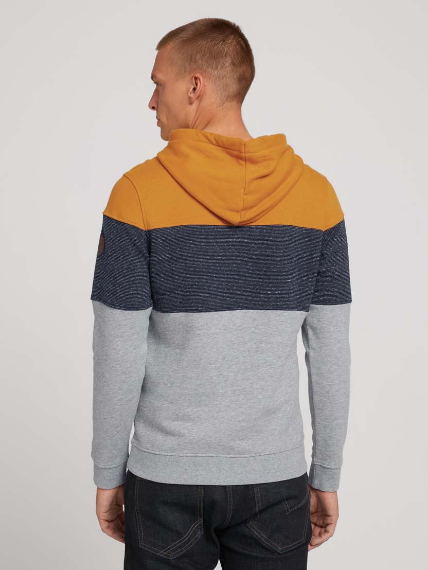 Športni pulover s kapuco z dolgimi rokavi v barvnem bloku - Oranžna_289610