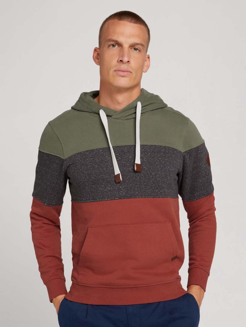 Športni pulover s kapuco z dolgimi rokavi v barvnem bloku - Rdeča