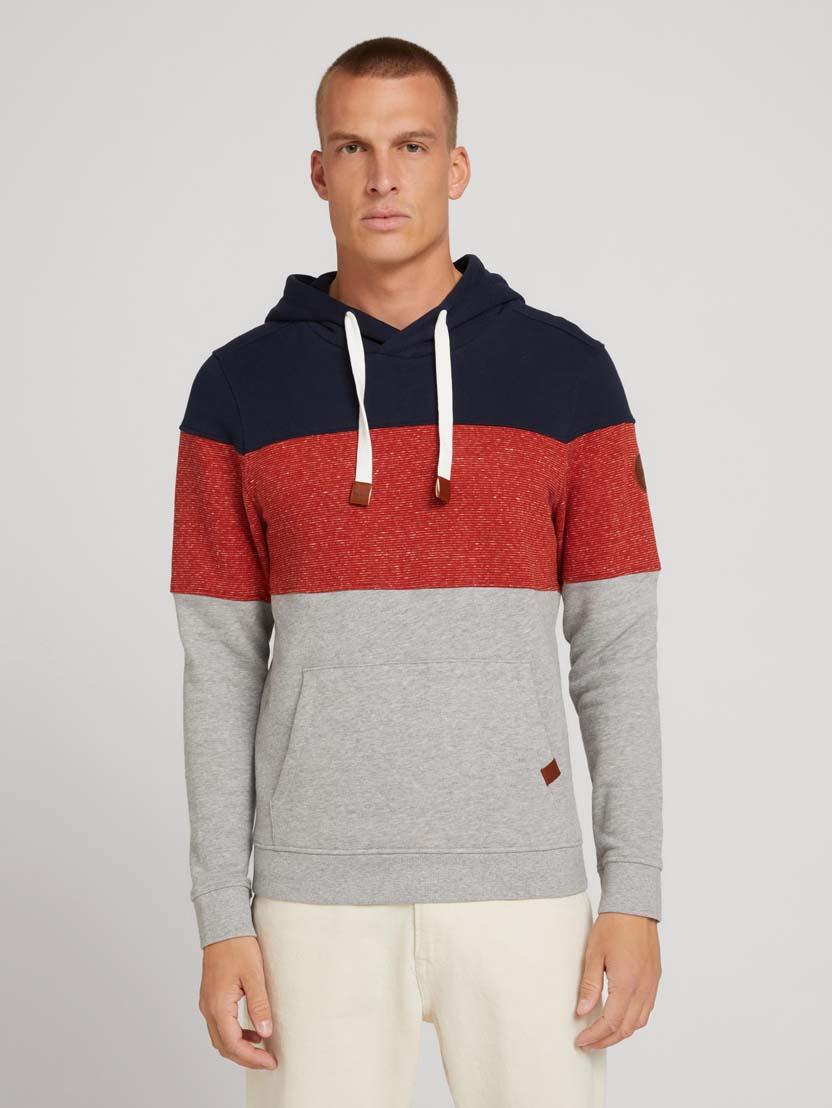Športni pulover s kapuco z dolgimi rokavi v barvnem bloku - Siva_1575454
