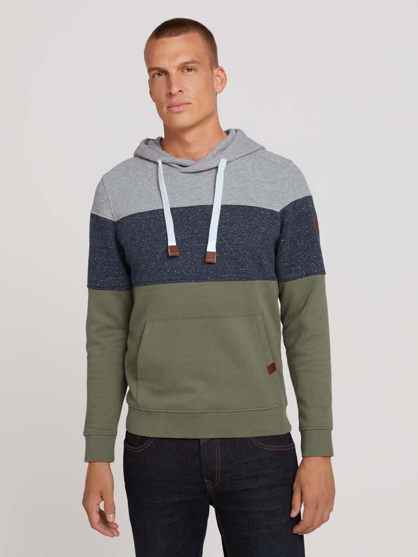 Športni pulover s kapuco z dolgimi rokavi v barvnem bloku - Zelena