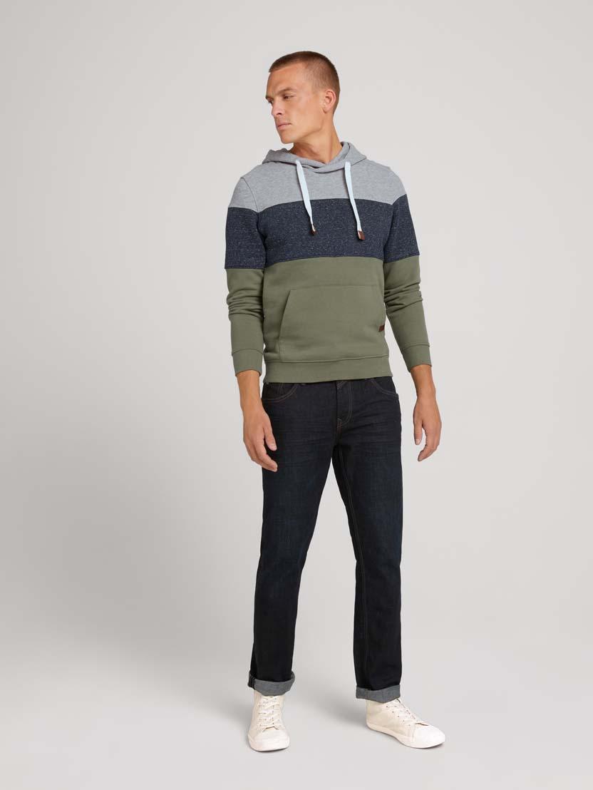 Športni pulover s kapuco z dolgimi rokavi v barvnem bloku - Zelena_7006125