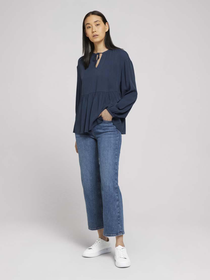 Srajčna tunika z dolgimi rokavi z naborki - Modra_587499