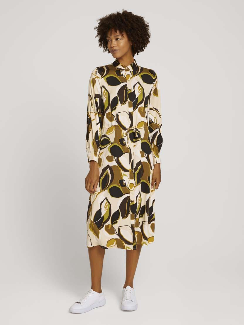 Srednje dolga obleka z dolgimi rokavi z vzorcem z vrvico - Vzorec/večbarvna_5582885