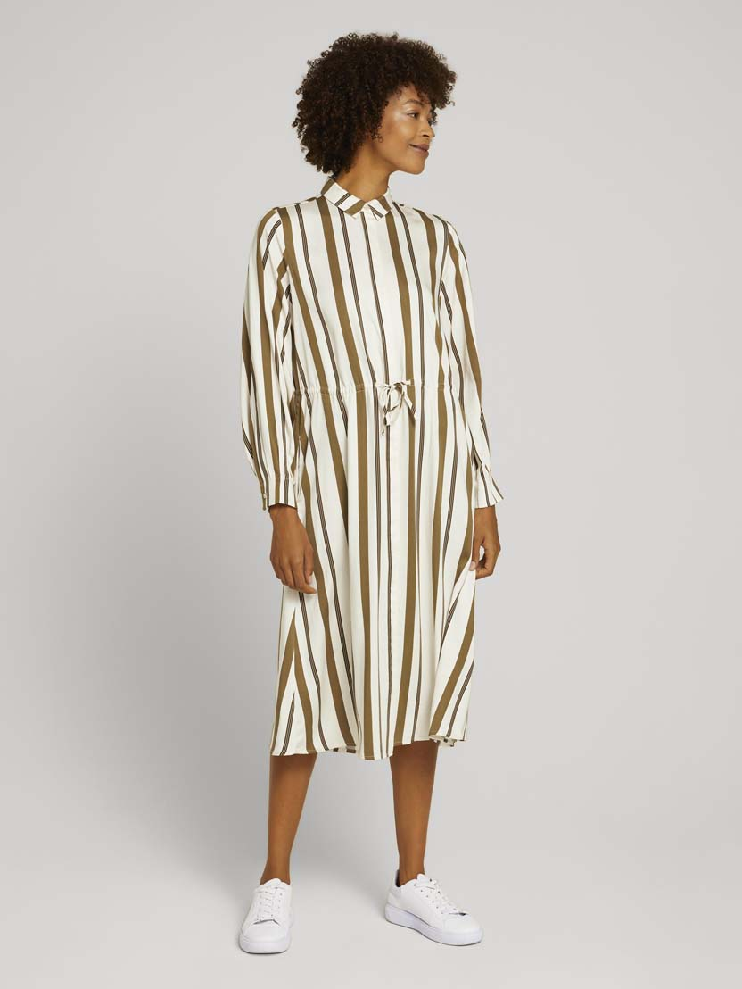 Srednje dolga obleka z dolgimi rokavi z vzorcem z vrvico - Vzorec/večbarvna