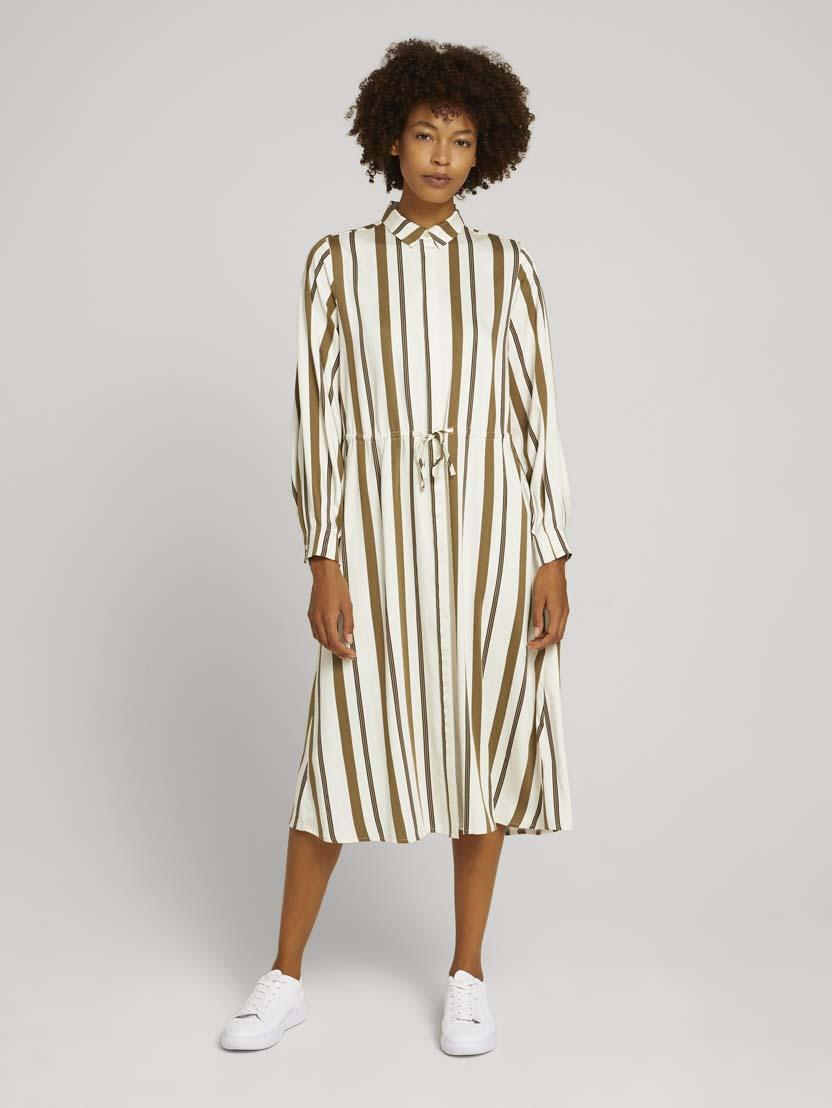 Srednje dolga obleka z dolgimi rokavi z vzorcem z vrvico - Vzorec/večbarvna_5899281