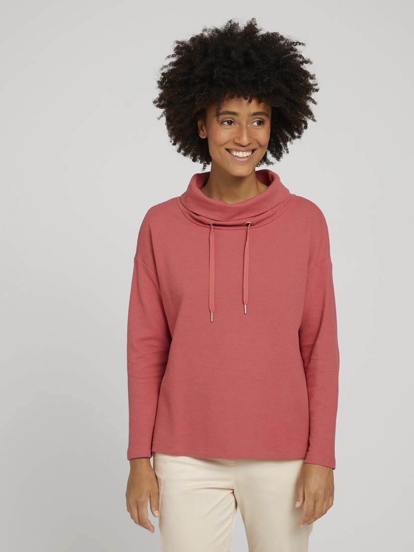 Teksturiran pulover s puli ovratnikom - Roza_4574980