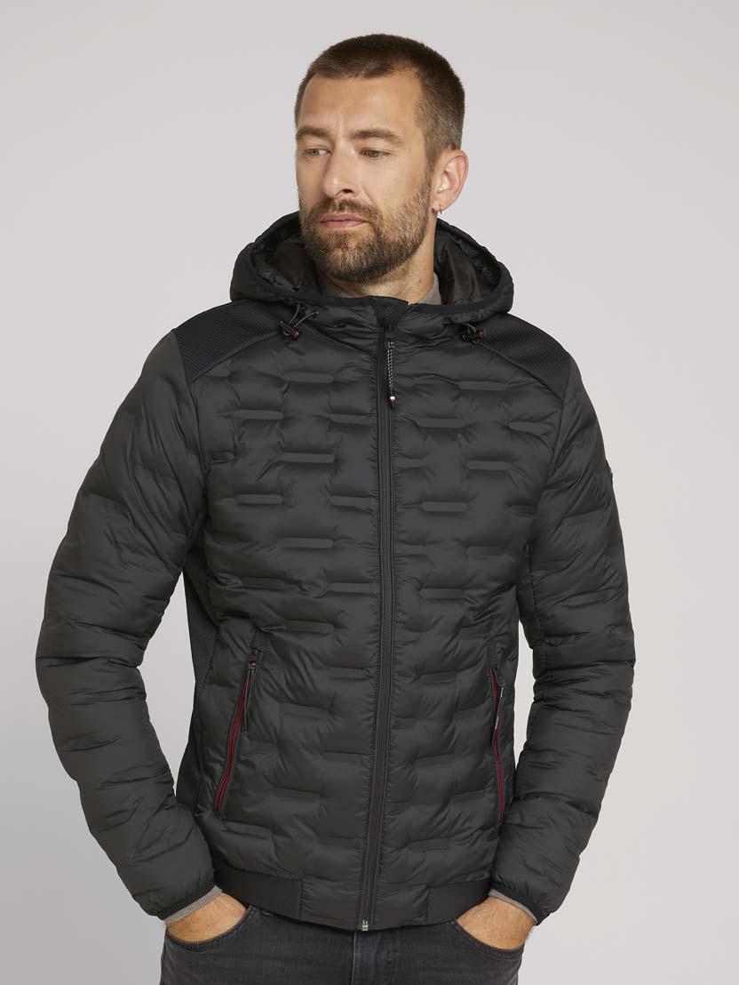 Teksturirana hibridna jakna s kapuco - Črna