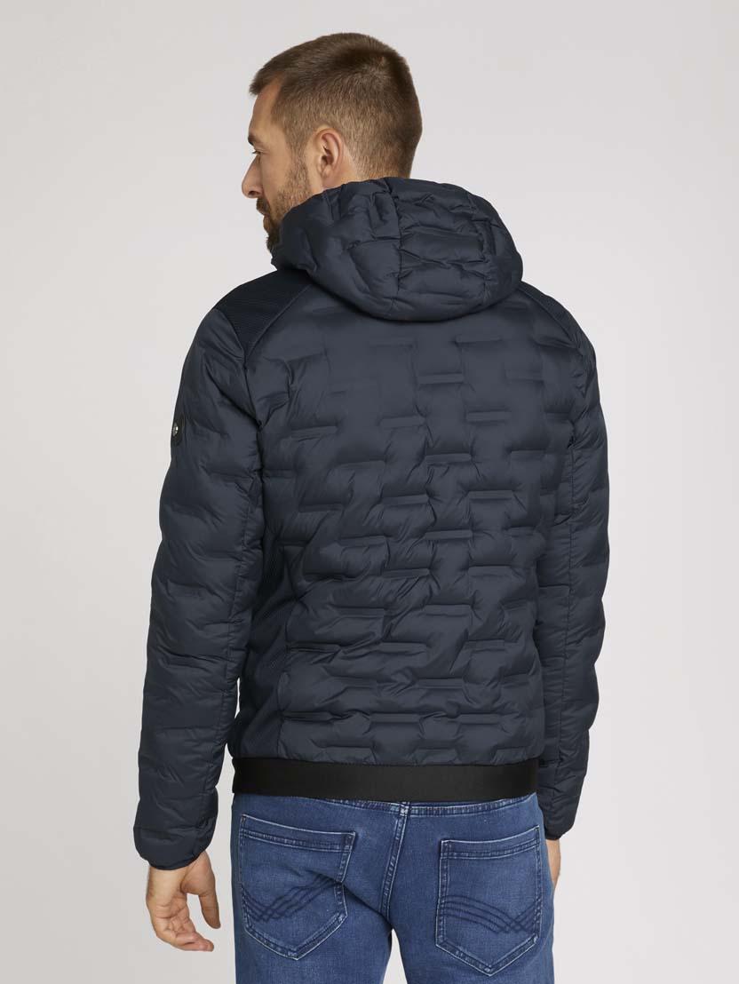 Teksturirana hibridna jakna s kapuco - Modra_4411646